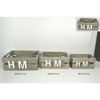 CASSETTA 35X25+H14CM LEGNO GRIGIA C/SCRITTA HOME